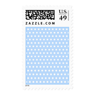 White and Blue Polka Dot Pattern. Spotty. Postage Stamps