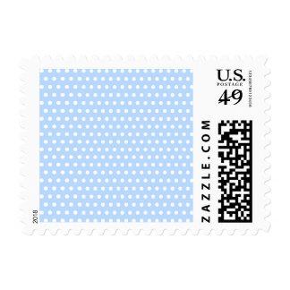 White and Blue Polka Dot Pattern. Spotty. Postage