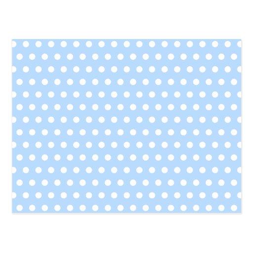 White and Blue Polka Dot Pattern. Spotty. Postcard