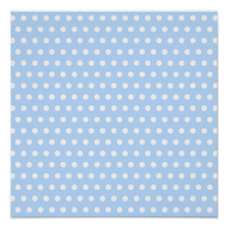 White and Blue Polka Dot Pattern. Spotty. Poster