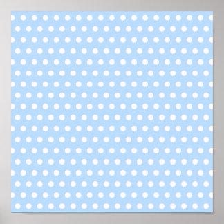 White and Blue Polka Dot Pattern. Spotty. Print