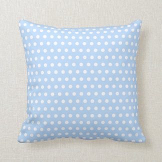 White and Blue Polka Dot Pattern. Spotty. Throw Pillow