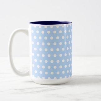 White and Blue Polka Dot Pattern. Spotty. Two-Tone Coffee Mug
