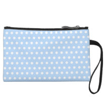 White and Blue Polka Dot Pattern. Spotty. Wristlet