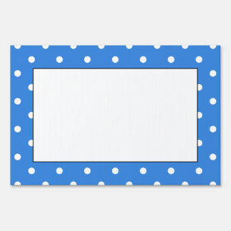 White and Blue Polka Dot Pattern. Sign