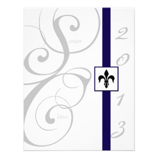 White and Blue Scroll Ribbon Graduation Invitations