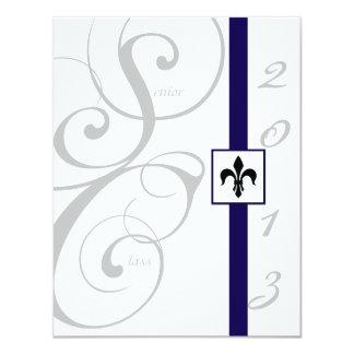 White and Blue Scroll Ribbon Graduation Invitations