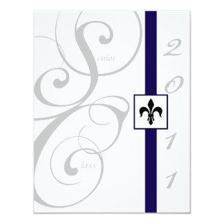 White and Blue Scroll Ribbon Graduation Personalized Invitation
