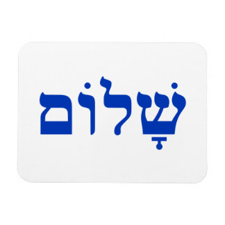 White and Blue Shalom Vinyl Magnets