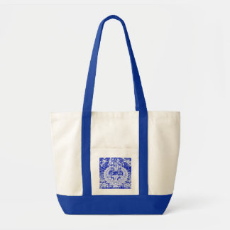 WHITE AND BLUE SHIVA OM CANVAS SUPER BAG