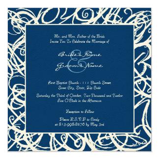 White and Blue Sketchy Frame Wedding Invitation