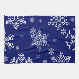 White and Blue Snowflakes Pattern Towel