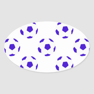 White and Blue Soccer Ball Pattern Oval Sticker