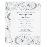 White And Blue Starry Moon Pattern Wedding Invitation