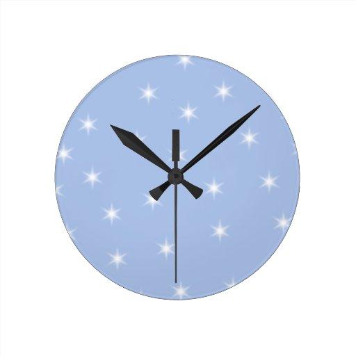 White and Blue Stars Design. Round Wall Clock