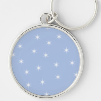 White and Blue Stars Design. Silver-Colored Round Keychain