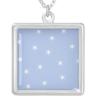 White and Blue Stars Design. Silver Plated Necklace