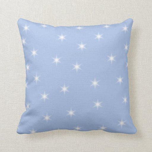 White and Blue Stars Design. Throw Pillows