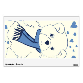 White and Blue Teddy Bear Wall Sticker