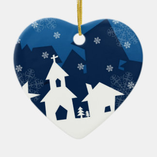 White and Blue Town with Snowflakes Christmas Christmas Ornaments