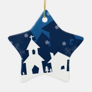 White and Blue Town with Snowflakes Christmas Christmas Tree Ornament