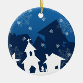 White and Blue Town with Snowflakes Christmas Ornaments