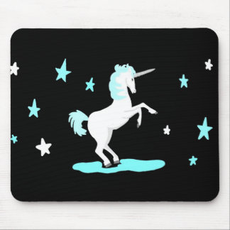 White and Blue Unicorn and stars Mouse Pad