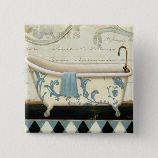 White and Blue Vintage Bath Tub Button