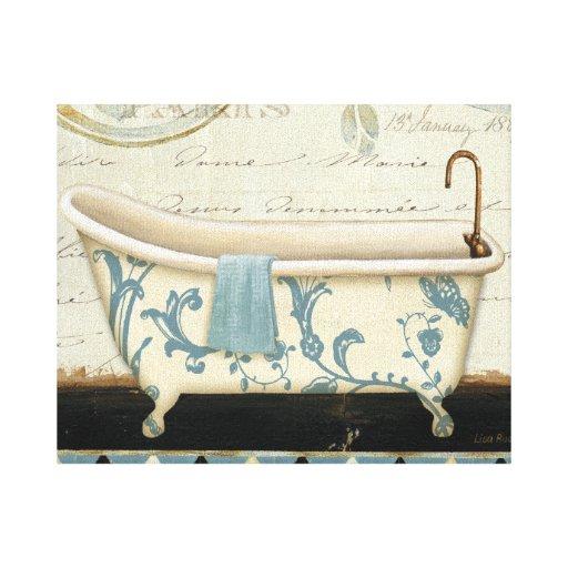 White And Blue Vintage Bath Tub Canvas Print Zazzle