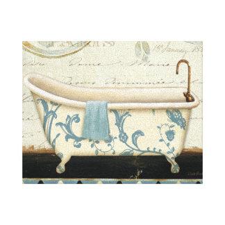 white and blue vintage bath tub canvas print - Vintage Tub