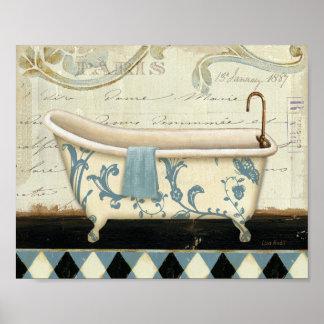 White and Blue Vintage Bath Tub Poster