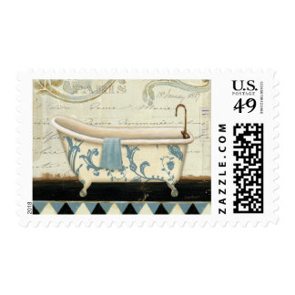White and Blue Vintage Bath Tub Stamp