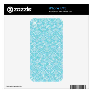 White And Blue Vintage Lace Pattern Design Decals For The iPhone 4S