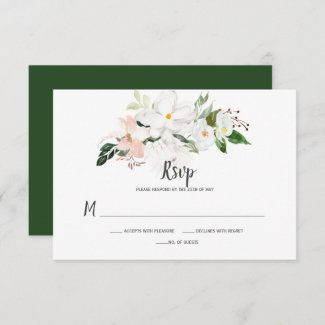White and Blush Pink Orchids and Magnolias RSVP