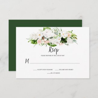 White and Blush Pink Tropical Watercolor Floral RSVP Card