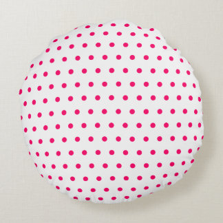 White and Bright Pink Polka Dots Round Pillow