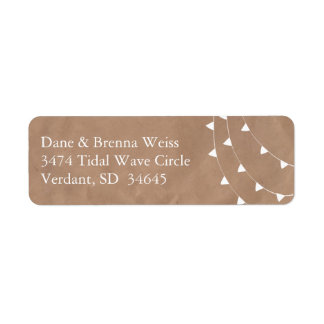 White and Brown Banner Bunting Return Address Label