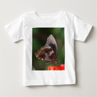 White and Brown Butterfly on Red Flower Baby T-Shirt