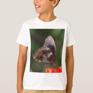White and Brown Butterfly on Red Flower T-Shirt