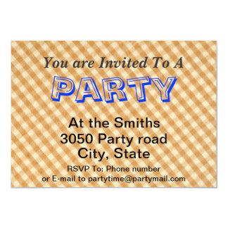 White and Brown Checkered Tablecloth Fabric Desigm Card