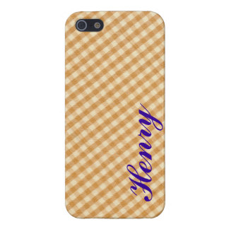 White and Brown Checkered Tablecloth Fabric Desigm iPhone SE/5/5s Cover