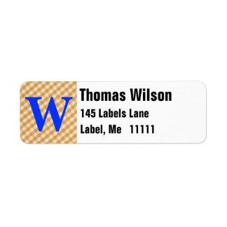 White and Brown Checkered Tablecloth Fabric Desigm Custom Return Address Label