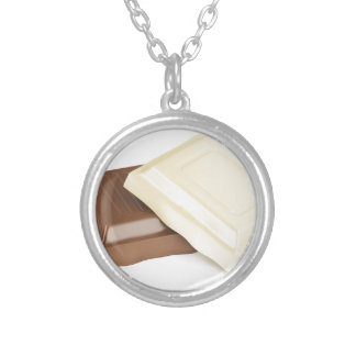White and brown chocolate silver plated necklace