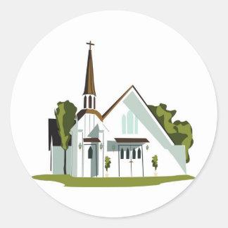 White and Brown Church Classic Round Sticker