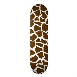 White and Brown Giraffe Animal Print Skateboard Deck