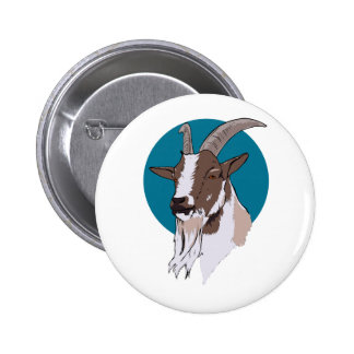 White and Brown Goat On Blue Circular Background Pin