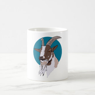 White and Brown Goat On Blue Circular Background Coffee Mug