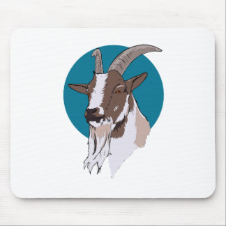 White and Brown Goat On Blue Circular Background Mouse Pad