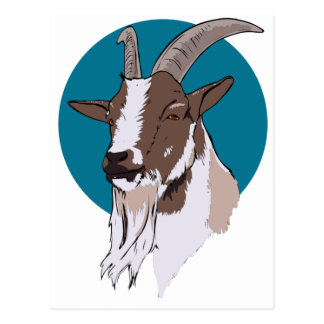 White and Brown Goat On Blue Circular Background Postcard