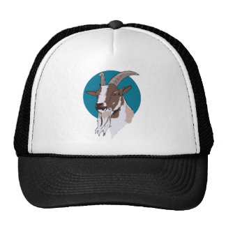 White and Brown Goat On Blue Circular Background Trucker Hat